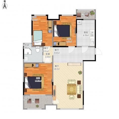 万科柏悦湾3室1厅1卫1厨108.00㎡户型图