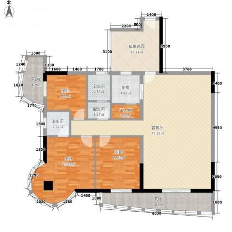 南湖中祥大厦3室1厅2卫1厨143.00㎡户型图