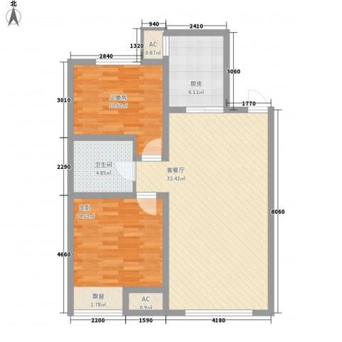 华润置地・凯旋门二期2室1厅1卫1厨100.00㎡户型图