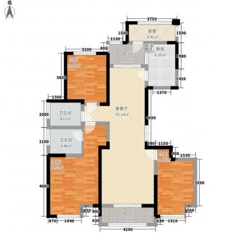 绿地中央广场3室1厅2卫1厨137.00㎡户型图
