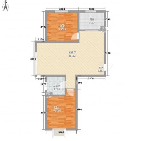 欢乐林栖2室1厅1卫1厨88.00㎡户型图