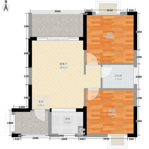 五指山・山水名城2室1厅1卫1厨78.00㎡户型图