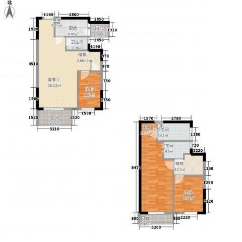 友山公馆3室1厅3卫1厨131.00㎡户型图