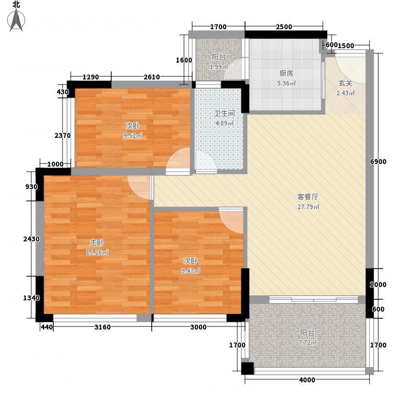 城市嘉园户型图1栋02户型 3室2厅1卫1厨