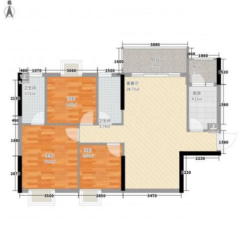 美陶花园3室1厅2卫1厨84.75㎡户型图