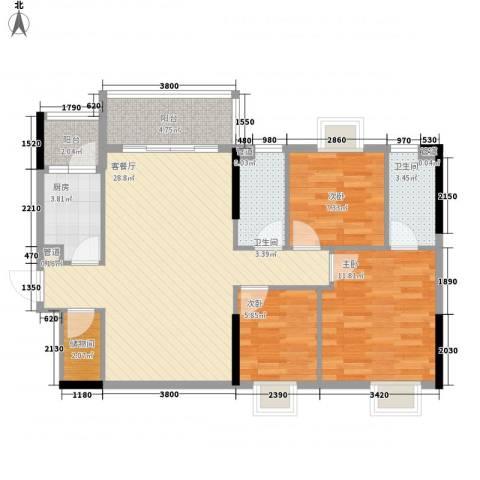 美陶花园3室1厅2卫1厨83.41㎡户型图