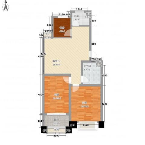 颐顺园3室1厅1卫1厨81.00㎡户型图