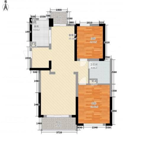 绿城锦绣兰庭2室1厅1卫1厨106.00㎡户型图