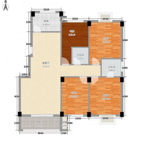 都市豪庭4室1厅2卫1厨155.00㎡户型图