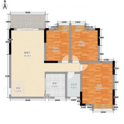江与城3室1厅1卫1厨116.00㎡户型图
