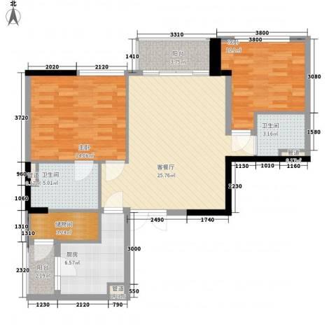 滨江19332室1厅2卫1厨108.00㎡户型图