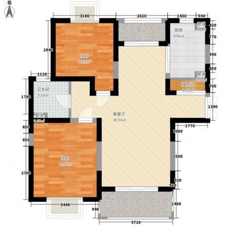 珠江香樟南园二期2室1厅1卫1厨93.00㎡户型图