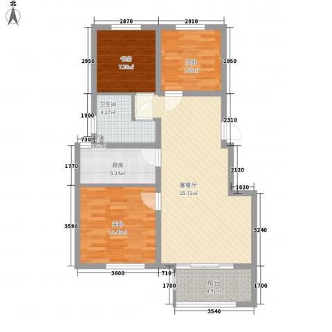 美和蓝湾3室1厅1卫1厨100.00㎡户型图