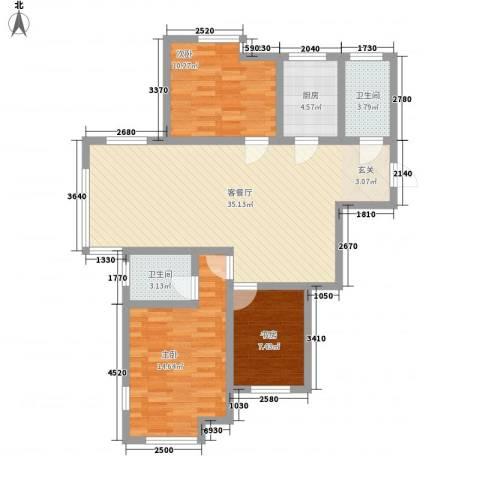 杨家滩花园3室1厅2卫1厨118.00㎡户型图
