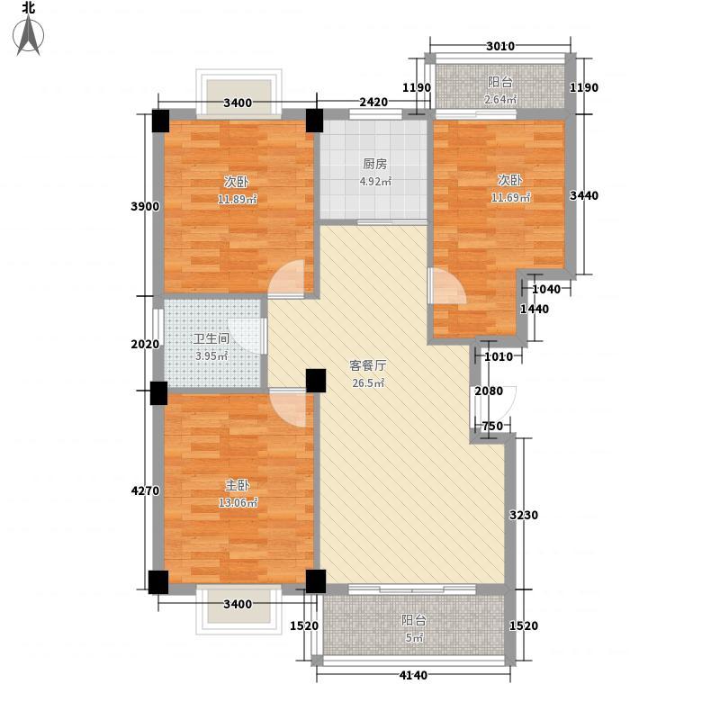 都市豪庭142.00㎡F户型3室2厅1卫1厨