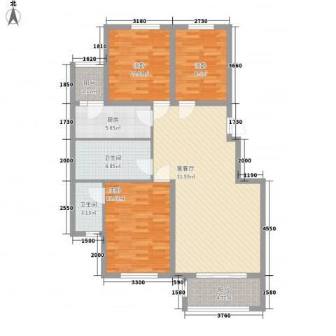 美和蓝湾3室1厅2卫1厨125.00㎡户型图