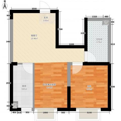 格林阳光城1室1厅1卫1厨63.00㎡户型图