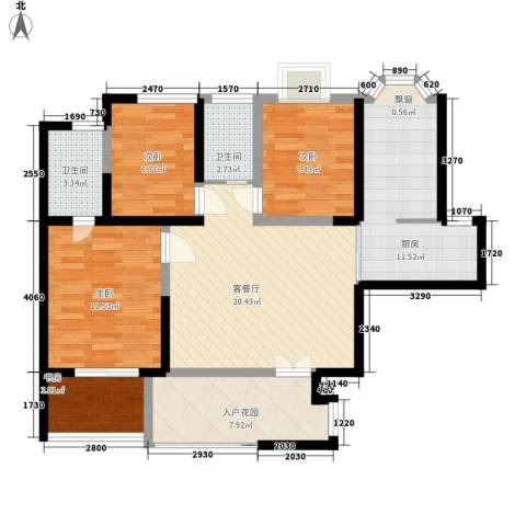 曲江观唐4室1厅2卫1厨110.00㎡户型图