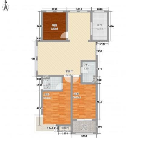 坤泰御景湾3室1厅2卫1厨135.00㎡户型图