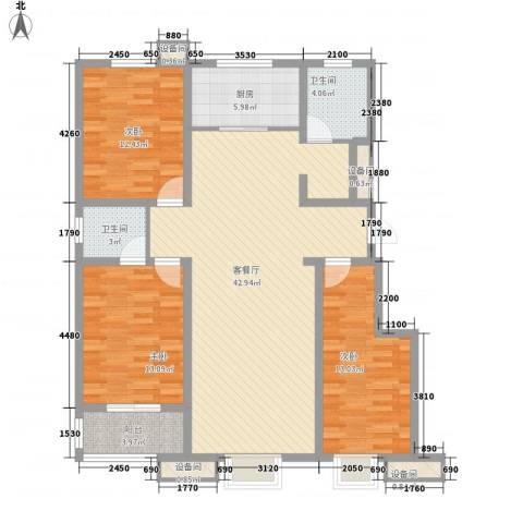 成博牧马3室1厅2卫1厨116.39㎡户型图