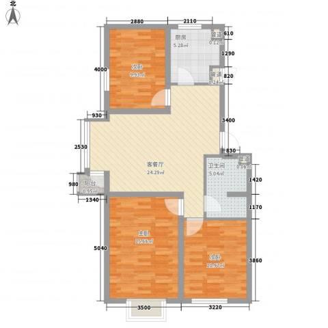 北美家园3室1厅1卫1厨99.00㎡户型图