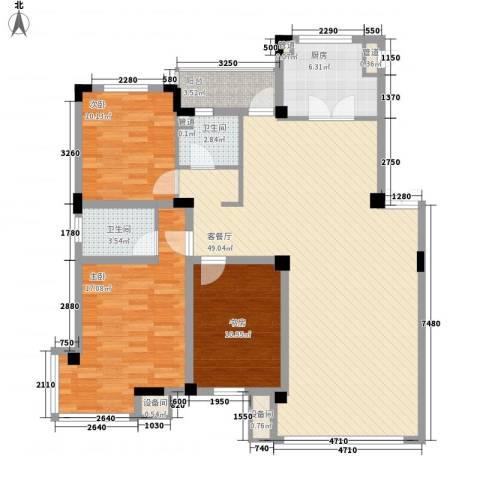 北美家园3室1厅2卫1厨136.00㎡户型图
