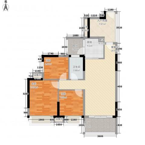 秋谷康城3室1厅1卫1厨77.20㎡户型图