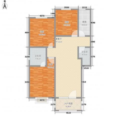 成博牧马3室1厅2卫1厨151.49㎡户型图