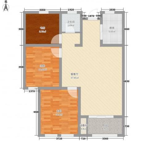 坤泰御景湾3室1厅1卫1厨123.00㎡户型图
