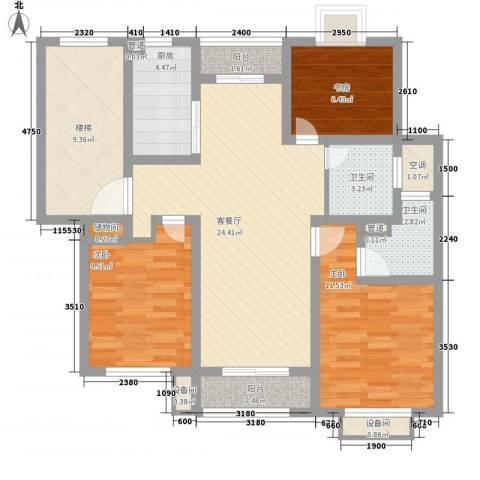 正棋山1号3室1厅2卫1厨118.00㎡户型图
