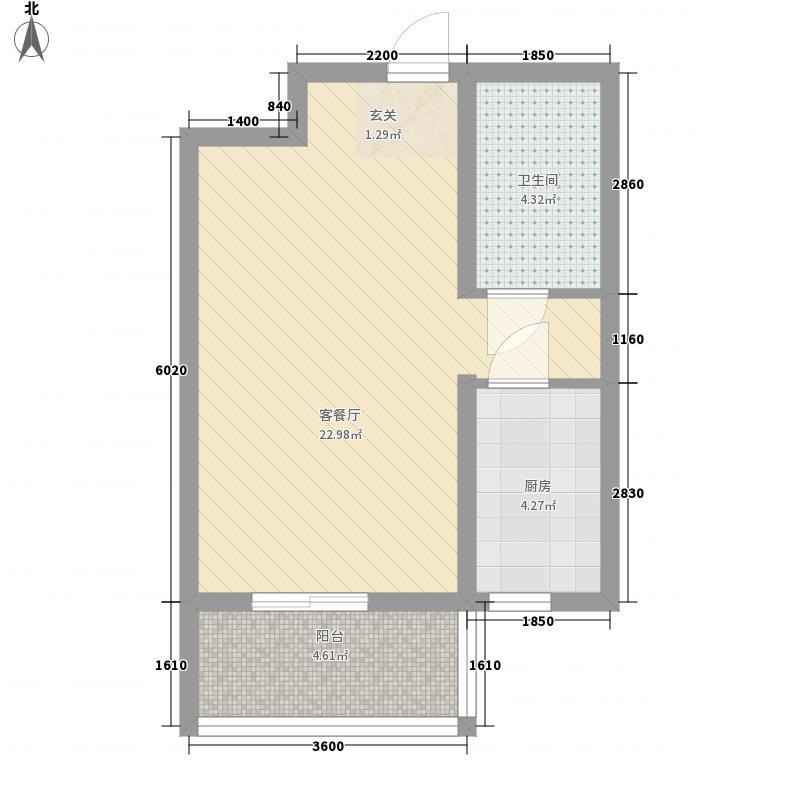 良园新居46.58㎡6号楼E2户型1室1厅1卫1厨