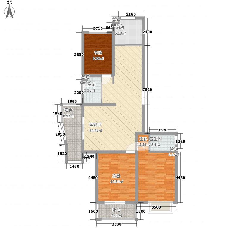 荣成万隆国际138.00㎡户型3室2厅1卫1厨
