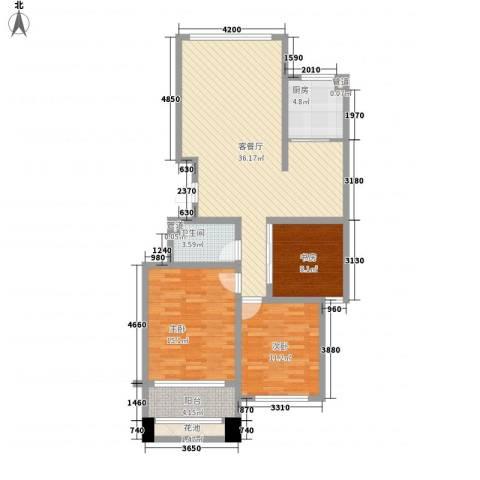 颐顺园3室1厅1卫1厨84.61㎡户型图