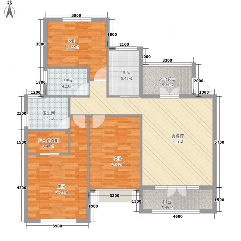 鞍山港中旅汤泉公馆124.00㎡都铎的格调户型3室2厅2卫1厨