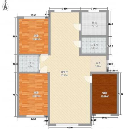 桃园新村3室1厅2卫1厨141.00㎡户型图