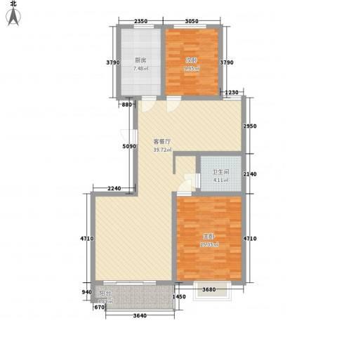 高速仁和盛庭2室1厅1卫1厨116.00㎡户型图