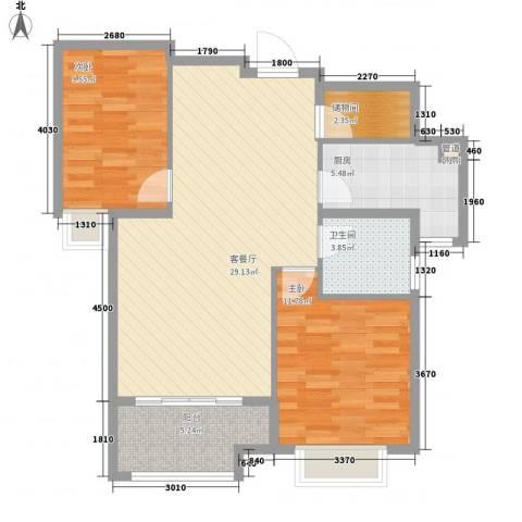 宁宝世家2室1厅1卫1厨86.00㎡户型图