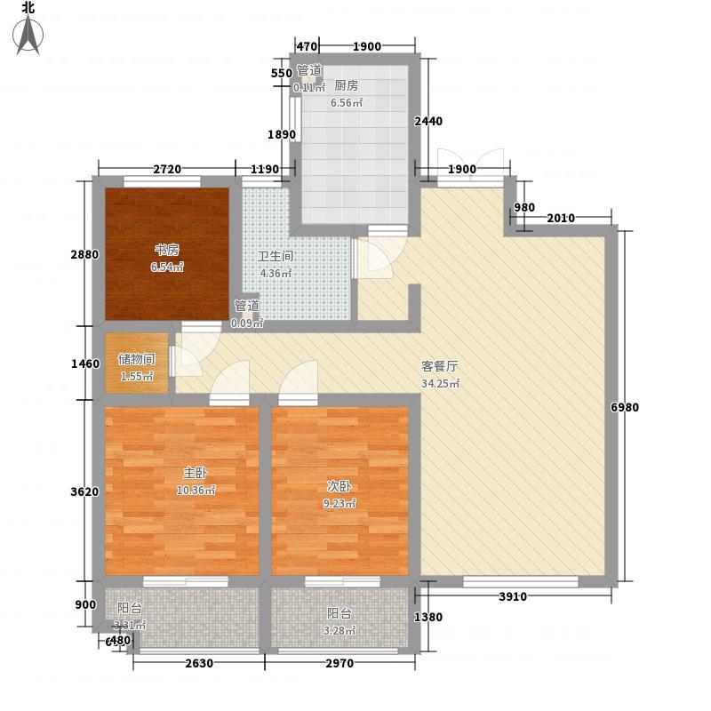 浮来春花园122.00㎡高层B户型3室2厅1卫1厨