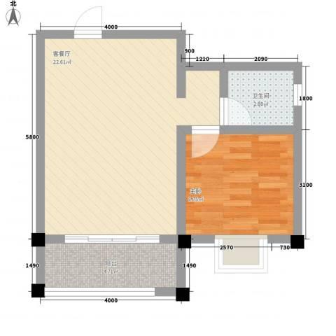 太阳河温泉度假中心1室1厅1卫0厨57.00㎡户型图