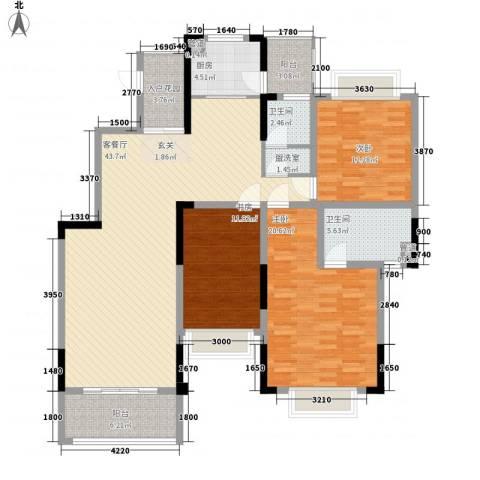 娱乐城3室1厅2卫1厨166.00㎡户型图