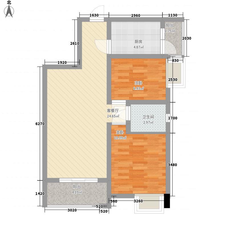 金泉秀岭81.19㎡B3户型2室2厅1卫1厨