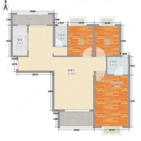 宁宝世家3室1厅2卫1厨125.00㎡户型图