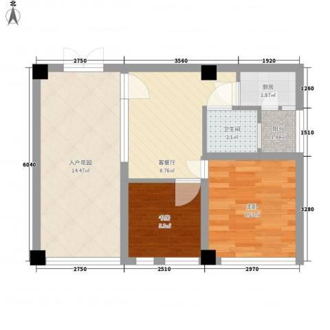 骏丰嘉骊花园2室1厅1卫1厨63.00㎡户型图