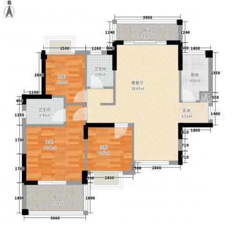大儒世家绿园3室1厅2卫1厨106.00㎡户型图