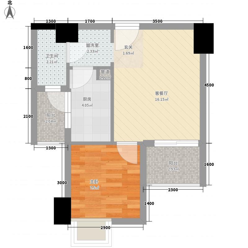 恒邦・新天地5.18㎡C2型户型1室1厅1卫1厨
