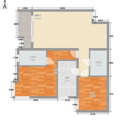 北苑家园莲葩园2室1厅2卫1厨112.00㎡户型图