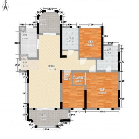 紫金英郡3室1厅2卫1厨128.00㎡户型图