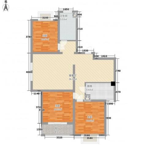 枫林湾3室1厅1卫1厨123.00㎡户型图