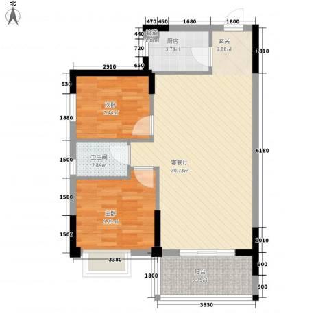 大儒世家绿园2室1厅1卫1厨85.00㎡户型图