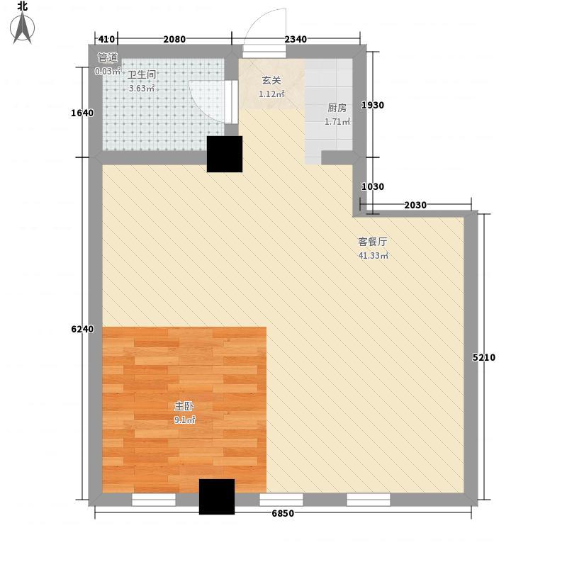 大福林综合楼61.84㎡E户型1室1厅1卫1厨